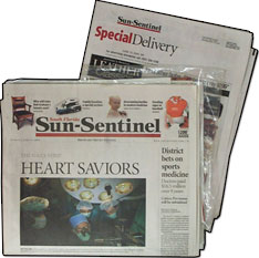 Q: How can I manage my subscription on the Sun Sentinel self service web site? A: You can temporarily suspend your paper while you're on vacation, report a delivery issue, access eEdition print replica, change address for delivery and/or billing, enroll in EZ-Pay and update your credit card information on your EZ-Pay account.